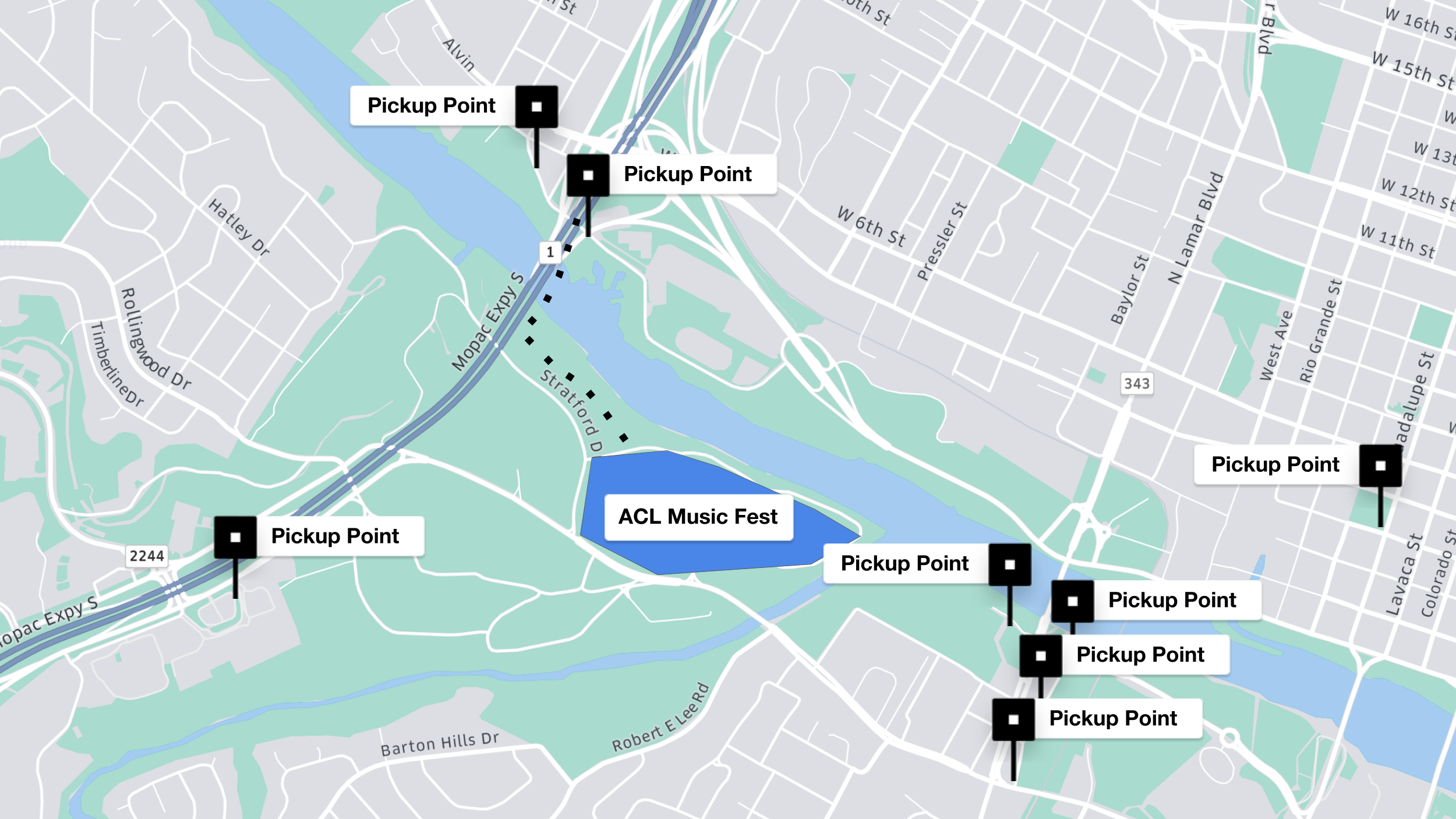 ACL Music Festival Map - Pickup points around Zilker Park