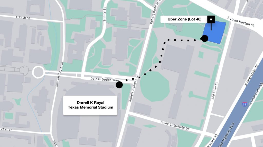 Uber pickup and dropoff in Lot 40 UT Austin Football