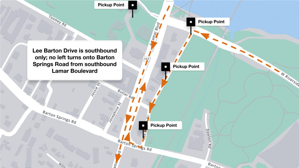 Driver pickup point map for ACL music fest