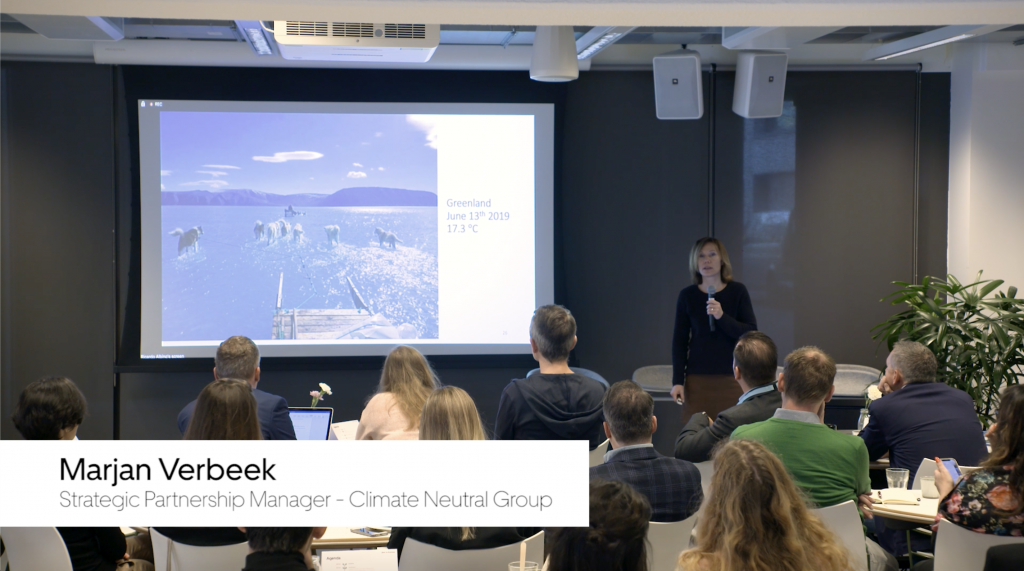 Marjan Verbeek presenting at the event Taking the Green Route: the Sustainable Traveller
