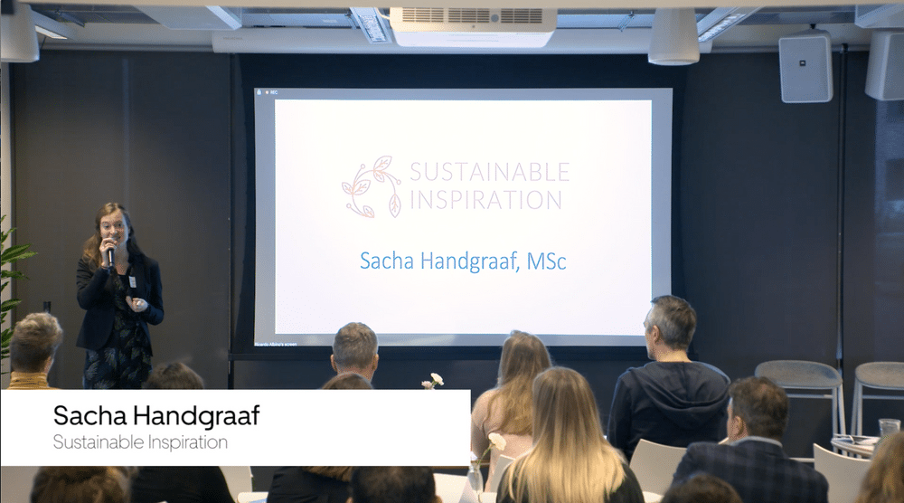 Sacha Handgraaf speaking at Uber HQ about how businesses can make sustainable choices