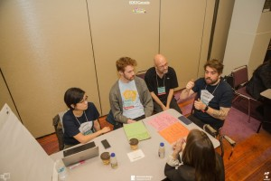A Hackathon team working on their solution.