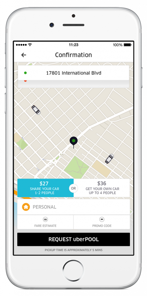 Requesting uberPOOL in Seattle